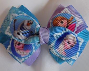 Frozen Hair Bow - Girl's hair bow, Hair bow for girl, Hair accessories, Barrettes and clips, Toddler hair bow, Handmade hair bow