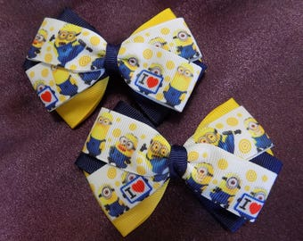 Despicable Minions Hair Bow - Girl's hair bow, Hair bow for girl, Toddler hair bow, Hair bow for toddler, Minions hair bow, Girl hair clip