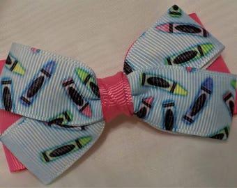 Coloring Pencil Hair Bow - Girl hair bow, Girl hair clip, Hair clip for girl, Art theme hair bow, Barrettes and clips, Toddler hair clip