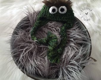 Ready to Ship- Oscar Hat, Newborn Hat, Newborn Photo Prop, Crochet Hat, Photo Prop, Baby Girl Hat, Baby Boy Hat, Baby Hat, Oscar the Grouch