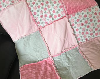 Pink and Grey Minky and Flannel Rag Quilt