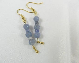 Gold blue earrings, dangle earrings gold blue beads, earrings beads aigues-marine woman costume jewelry