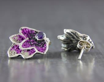 Silver earrings violet cones