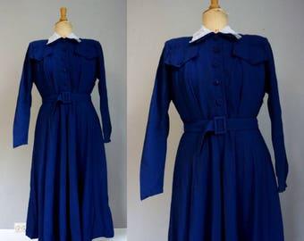 1940s Royal Blue Shirtwaist Dress