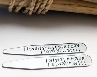 Valentine's Day Gift for Him, Personalized Collar Stays, Stainless Steel Collar Stays,Gift For Husband - Shirt Stays - Silver - Anniversary