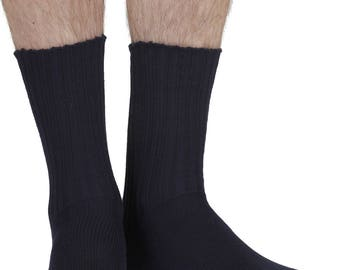Shino men's elastic free (soft top) bamboo comfort crew socks in navy