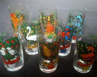 Set of 1970's 12 Days of Christmas Tumblers