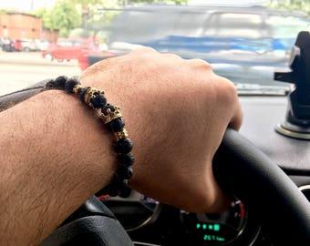 8mm Gold Crown Bracelet