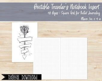 Printable Micro Size Travelers Notebook Square Grid Insert, Nano Tn