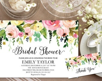 Bridal Shower Invitation, Printable Bridal Shower, Bridal Shower Template, Instant Download File, Flower Bridal Shower Gift, Bridal F-06