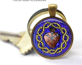 RELIGIOUS HEART Key Ring • Sacred Heart • Purple Heart • Christian Heart • Catholic Heart • Gift Under 20 • Made in Australia (K444)