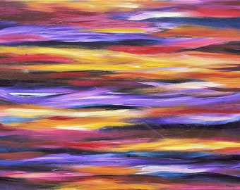 Original abstract acrylic painting on canvas, colorful wall decor, purple painting