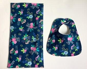 Baby Girp Burp Cloth & Bib Set, Baby Girl Gift, Navy floral Bib and Burp Cloth
