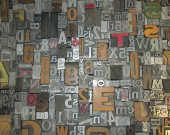 Lot of 50 Antique Vintage Metal Wood LETTERPRESS Print Type BLOCKS ALPHABET Letters Numbers