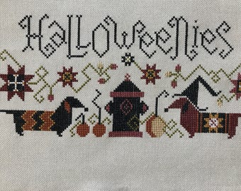 """Unframed / Stitched / Completed Cross Stitch - """"Halloweenies"""""""