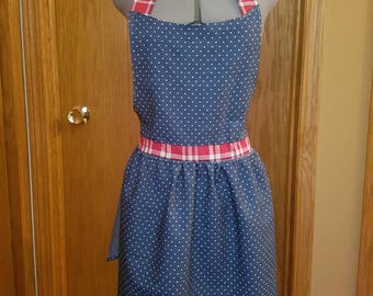 Hostess Apron in Blue Polkadots and Red Plaid