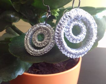 Silver-grey crochet earrings