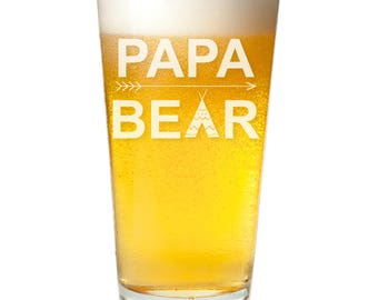 Papa Bear Engraved Pint Glass - Father's Day Gift -PNTG3960-A1280R- Birthday Gift