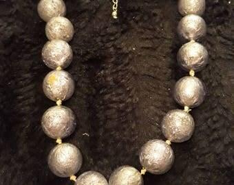 Vintage Silver Foil Filled Purple Glass Beaded Necklace