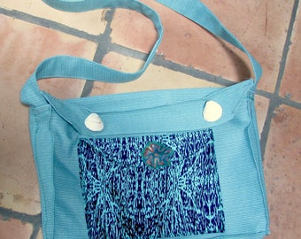Custom made to your specs, shoulder bag, messenger bag, teal with shell decorations