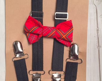 Christmas plaid bow tie, Red bow tie, Clip on bow tie, Baby bow tie, Holiday bow tie, Plaid bow tie, Baby bow tie, Toddler bow tie, Kids bow
