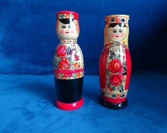 Pair of vintage wooden Russian dolls, bottle holders, matryoshka