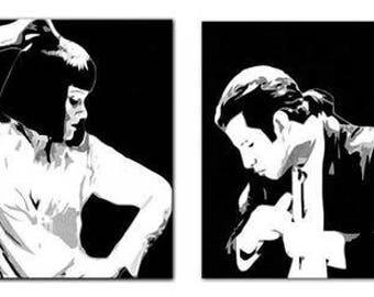 Set of 2 travolta and uma thurman pulp fiction movie art