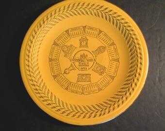 Fiesta Ware Good Luck Calendar Plate 1955 in Original Yellow Glaze with Gold