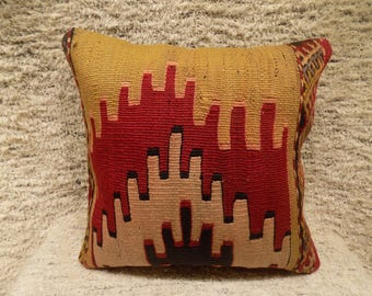 Kilim pillow,throw pillow,embroidery cushion cover,vintage turkish pillow,handwoven pillow,accent pillow,16x16