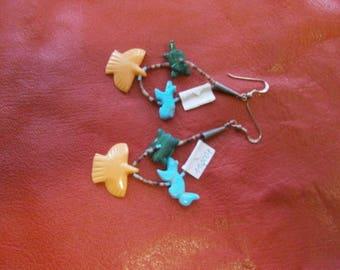 Fetish animal chandelier earrings, Native American jewellery, silver jewellery,, Zuni, Navaho, Navajo
