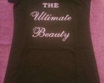 Ladies Fitted O-neck Glitter Tshirt