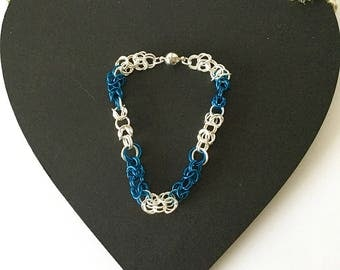 Blue and Silver Chainmaille Bracelet