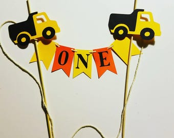Construction birthday party cake topper, construction party cake banner, mini cake banner, truck party  cake topper, truck party cake banner