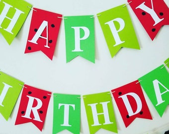 Red and green girls happy birthday banner, girls summer birthday party banner, watermelon birthday party banner,watermelon birthday banner