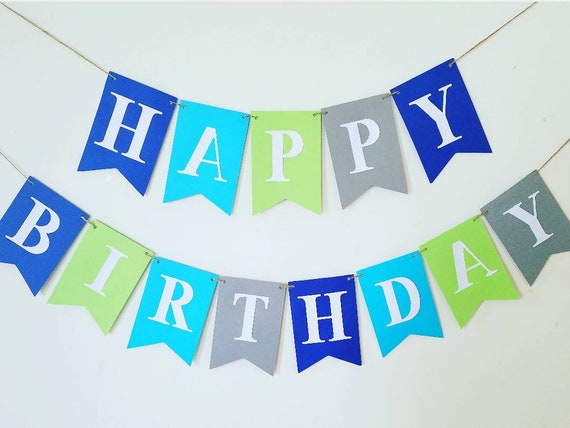 Very LARGE Happy Birthday banner,boy banner,boy Birthday banner.Green  CS58