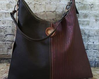Lovely All Cork Two Tone Hobo Bag