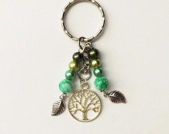 Tree of Life - Homemade BeadedKeyring - By HyperkittyDesigns