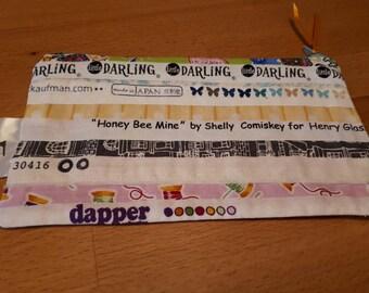 Handmade Salvage edge zip purse, pencil case, cosmetic purse, teacher gift