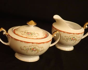 VINTAGE Hand-painted MEITO CHINA Cream & Sugar Bowl Set