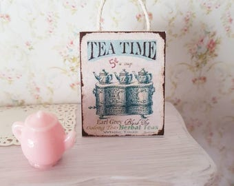Dollhouse Miniatures,Miniatures for dollhouse,TeaTime Plaque,Rustic Sign,Wall Plaque,Kitchen Tea Poster,Shabby Cottage Chic,1:12th Scale
