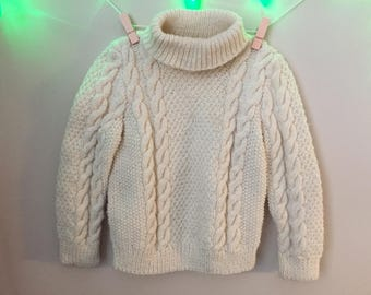 Vtg Hand Knit Fisherman's Sweater for Baby - Hand Knit Pullover Sweater Jumper for Baby - Vintage and Used - Size 4T