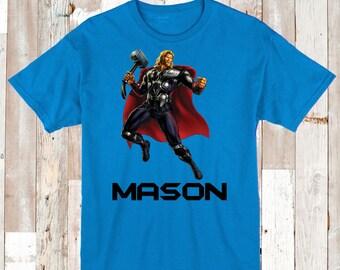 Thor Superhero T-Shirt With Name Thor Superhero Tee Tees Personalized Boys Birthday Shirt Thor Boys Tees Thor Hero Shirt Thor Graphic, bb33