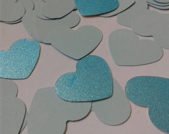 Baby shower boy, Blue paper hearts, paper confetti, heart confetti, blue bridal shower, blue wedding confetti, blue glitter confetti.