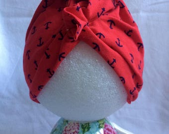 "Persephone ""Apple Red Anchors Away"" Headwrap"