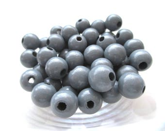 25 wooden pacifier clip 12 mm - dark gray beads