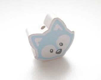 Head of Fox white & blue tender wooden bead