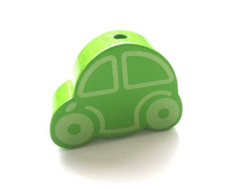 Great car - Apple green wooden bead