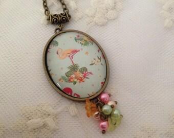 Tropical Flamingo cameo necklace.