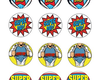 "Edible Prints Fathers Day Super Dad Cupcake Toppers 2"" x 12 Icing Sheet"