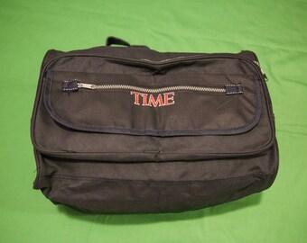 Vintage 90s TIME Magazine Messenger Bag Retro Duffel Purse Fanny Pack Luggage